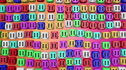 Abstract dice in various colors