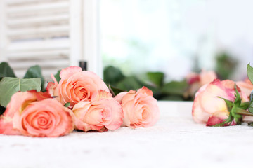 Beautiful bouquet of peach roses in shabby style on a mirror bac