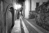 Orta San Giulio old city, night view. Black and white photo - 83269491