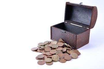 money in treasure box