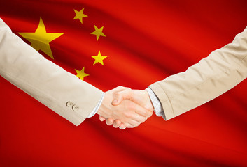 Handshake and flag - People's Republic of China