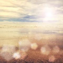 Sunny seascape vintage effect background