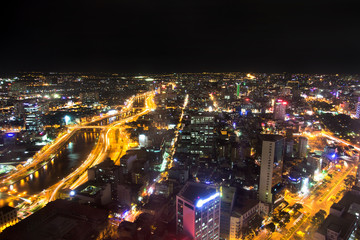 Night Urban City Skyline, Ho Chi Minh City, Vietnam