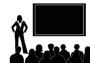 Gente, grupo, fondo, blanco y negro, conferencia