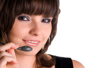 Portrait female customer representative with headset