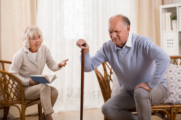Senior man with knee arthritis