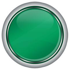 leerer grüner web button, rund mit Chrom-Rand, glossy design,