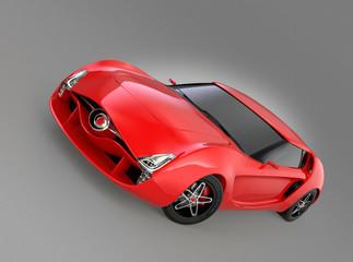 Red sports car on gray background.Original design