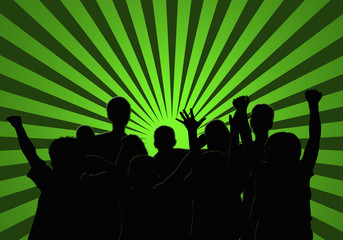 Personas, grupo, fondo, verde, siluetas, vitalidad