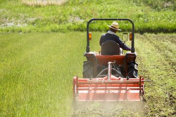 耕運機で耕す農地