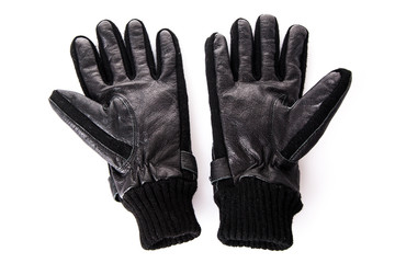 Black leather gloves.  Men's black leather gloves