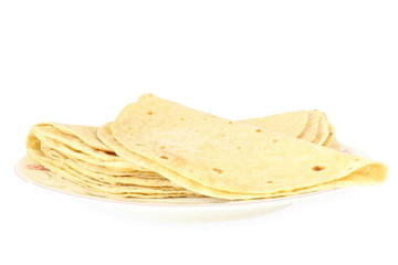 tortilla or chapati indian food closeup in pure white background