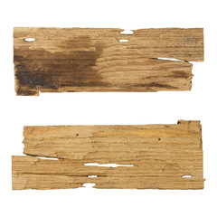 Old wooden planks isolated white background