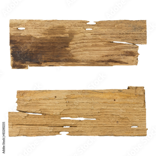 Tuinposter Hout Old wooden planks isolated white background
