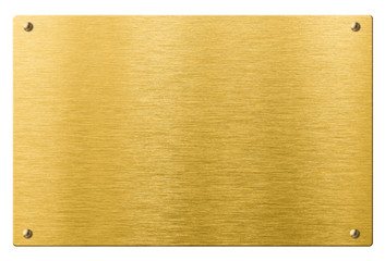 gold or brass metal plate with rivets isolated
