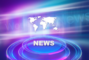 Graphical news background with 3d  platform