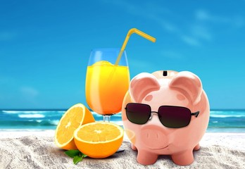 Piggy on vacation at beach