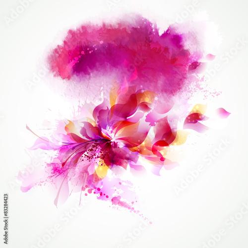 Zdjęcia na płótnie, fototapety, obrazy : The pink watercolor stain with floral.