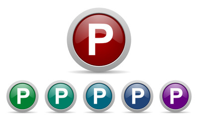 parking vector web icons set
