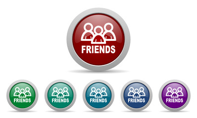 friends vector web icons set