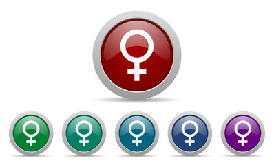 female vector web icons set