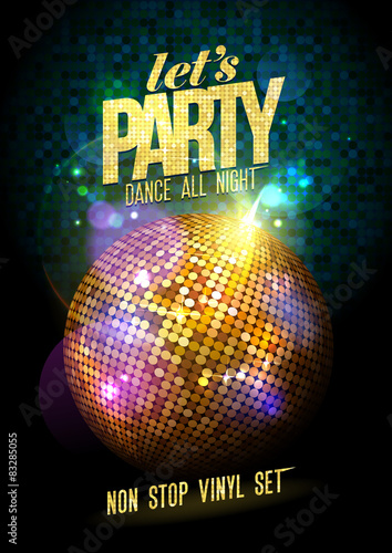 Party design with gold disco ball.