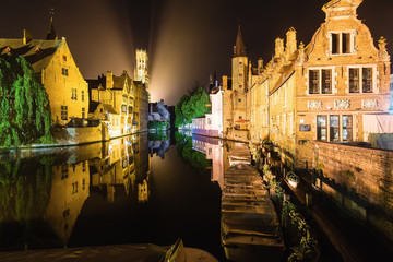 Brugge by Night Reflected in the Water
