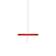 Wooden swing in red design hanging on white rope