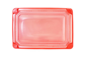 red plastic rectangle  food tray with lid on white background
