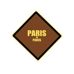 Paris yellow stamp text on brown background