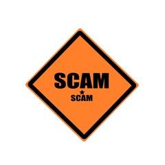 SCAM black stamp text on orange background