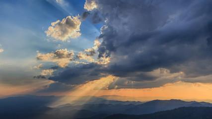 Beautiful Sunset and light beam at Doi Pui ,Chiang Mai ,Thailand