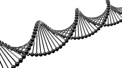 DNA molecule seamless animation on white isolated background