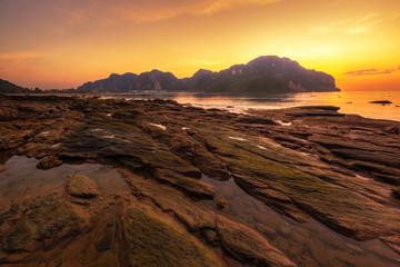 Sunset in Phi Phi Island in Thailand