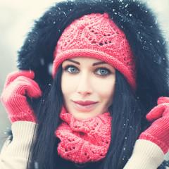 Winter Woman. Beautiful Face closeup