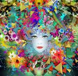 Fototapety девушка в цветах