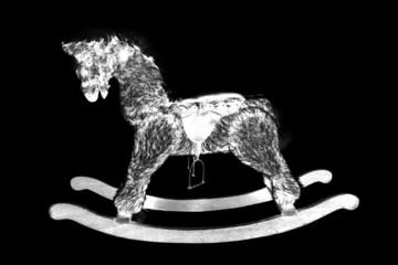 digital photogram of rocking horse
