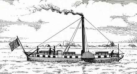 """First german paddle steamer """"Die Weser"""""""