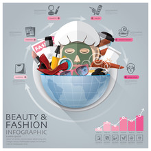 Global Beauty And Fashion Infographic With Round Circle Vegetabl