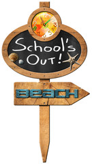 School's Out  - Sign for Beach