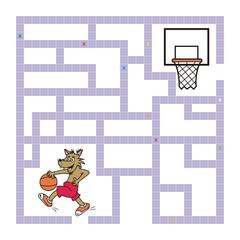 labyrinth, wolf and basketball