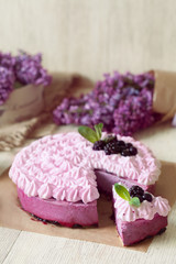 Berry purple mousse cake. Delicious homemade baked sweet