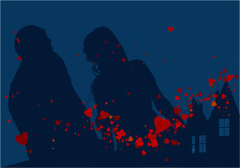 sagome di sposi nella notte