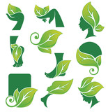 vector collection of ecological and natural beauty symbols and s
