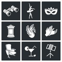 Art, theater, ballet, opera Vector Icons Set