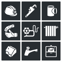 Work plumber at home Vector Icons Set