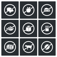 Russian restrictions on imports and exports Vector Icons Set