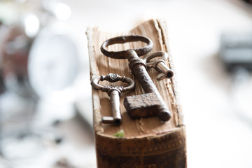old keys and  book