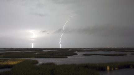 Electrical Storm Approaches Lightning Strikes Galveston Texas