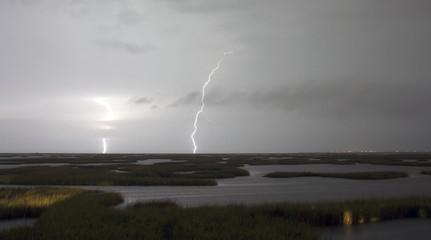 Electrical Storm Approaches Lightning Strikes Galveston Texas